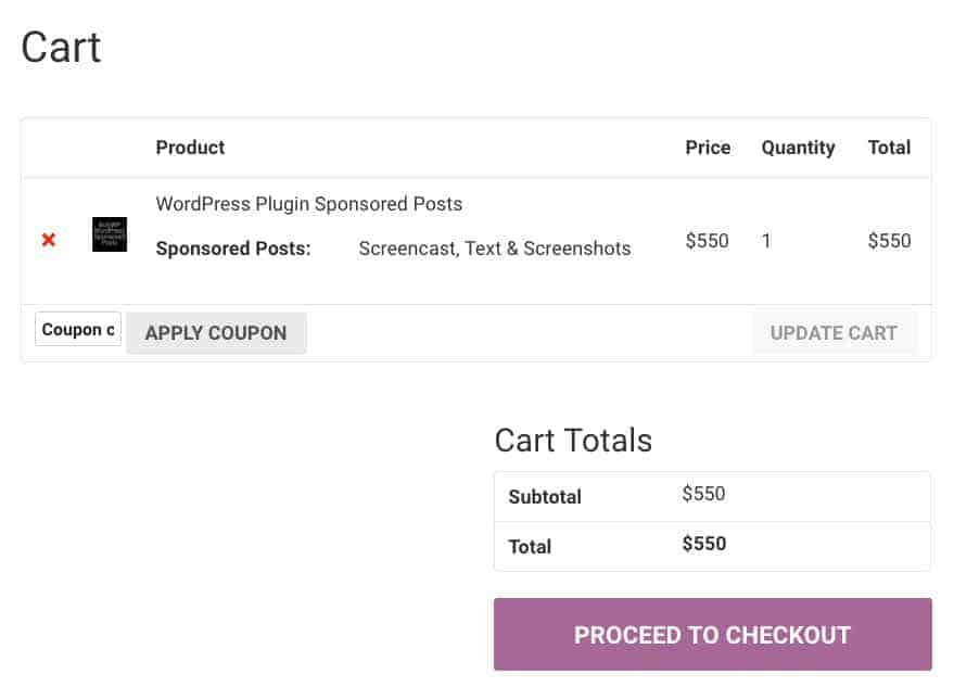 cart page before update